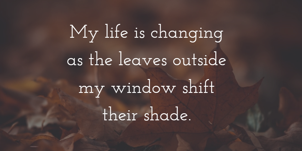"Fall leaves with quote: ""My life is changing as the leaves outside my window shift their shade."""